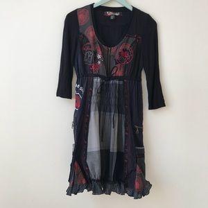 Desigual Embroidered Multi Print Elvira Dress